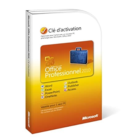 Office professionnel 2010, 1 poste (clé d'activation seule)