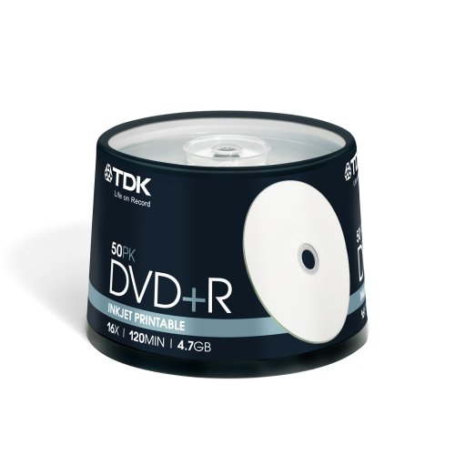 TDK DVD+R Rohling 4,7GB 16x Speed (50 Stück) in Cakebox - Bedruckbar (InkJet)
