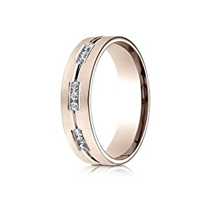 IceCarats Designer Jewelry 14K Rose Gold 6Mm Comfort-Fit Etched Channel Set 9-Stone Diamond Ring (.18Ct) Size 6.5