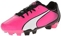 PUMA Adreno Firm Ground JR Soccer Shoe (Little Kid/Big Kid) , Knock Out Pink/White/Black, 6 M US Big Kid