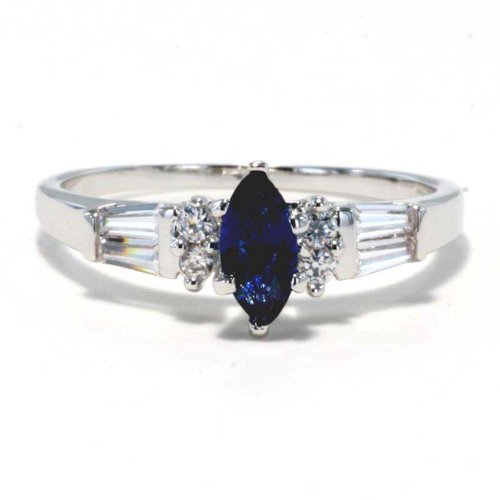 Marquise Cut Sapphire Simulated Cubic Zirconia Rhodium Plate Brass Bridal Wedding Ring