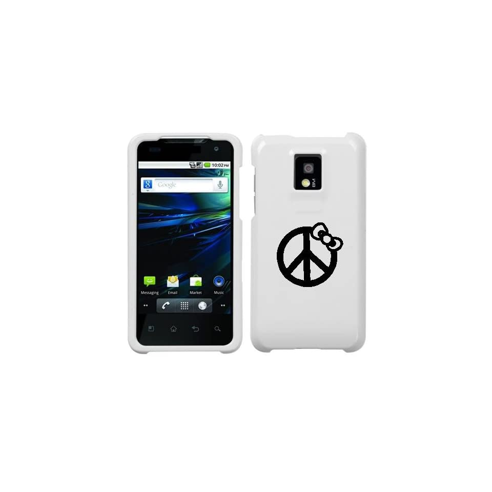 LG P999 G2X BLACK PEACE BOW ON A WHITE HARD CASE COVER