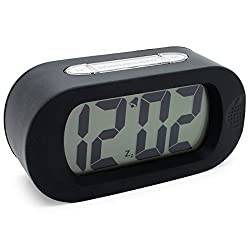 JCC Easy Setting Silicone Protective Cover Digital Silent LCD Large Screen Desk Bedside Alarm Clock with Snooze Light Function Batteries Powered (Black)
