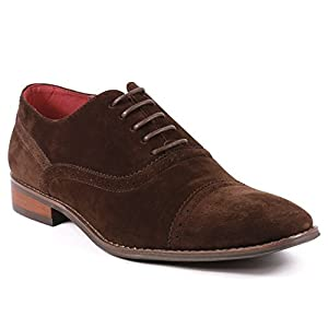 UVS060 Men's Faux Suede Perforated Lace Up Cap Toe Oxford Dress Shoes (12, Brown)