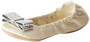 kate spade new york Women's Cayman Ballet Flat,Ivory Satin,9 M US