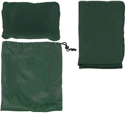 Snooze Travel Comfort Set - Includes Soft Fleece Pillow And Cozy Blanket Packaged In Nylon Bag - Green front-14376