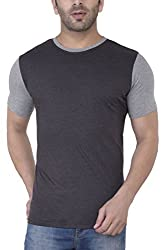 Upbeat Men's Charcoal Grey Half Sleeve Crew Neck Branded Tshirt - Small