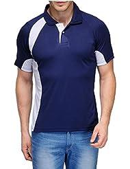 Scott Crackle Men Dryfit Navy Blue With White T-shirt (Jersey)