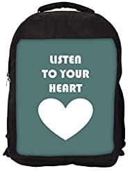 Snoogg Listen To Your Heart Backpack Rucksack School Travel Unisex Casual Canvas Bag Bookbag Satchel
