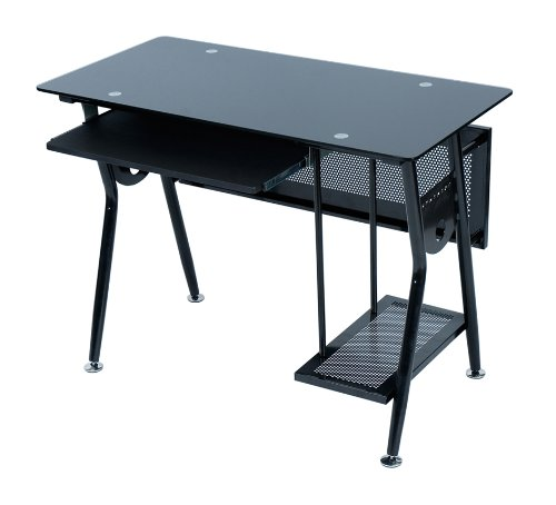 Levv Glass Computer Workstation - Black