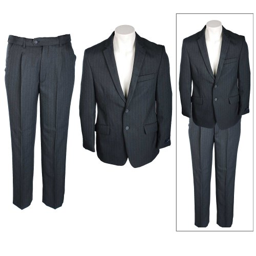 Thomas Brooks Men's Charcoal Herringbone Two Button Single Breasted Suit in Size Small