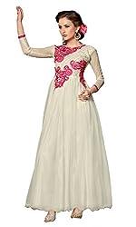 Parinaaz Cream soft net fabric Unsticht Dressmaterial