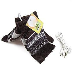 USB Knit Gloves Warmer Oenbopo Women s PC Laptop USB Heated Half Full Finger Winter Warm Hand Gloves Warmer Wool GS53 GS62