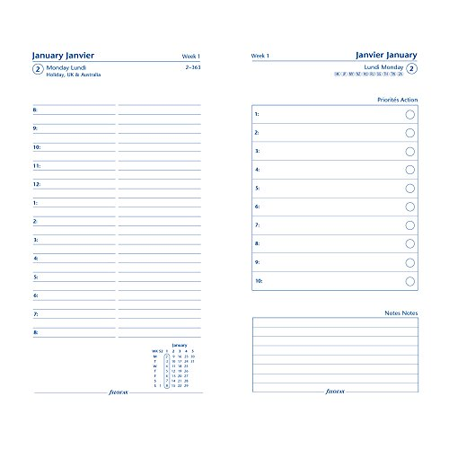Filofax 2017 Personal/Compact Day on Two Pages Refill, 3 Languages, 6.75 x 3.75 inches (C68417-17) (Personal Planner Pages compare prices)