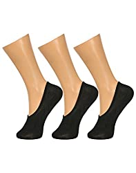 Gumber Pack of 3 Pairs of Black Solid No Show Socks(GE_LOAFER_BLK_3PC)