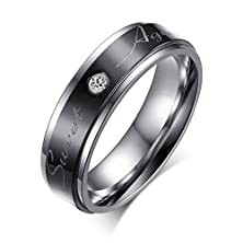 """buy Aooaz Jewelry Men'S Stainless Steel Wedding Ring """"Sweet Agreement"""" Cz Inlaid Black Silver Size 7"""