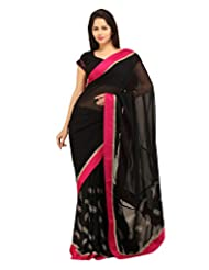 CHARMING Black Georgette Designer Saree
