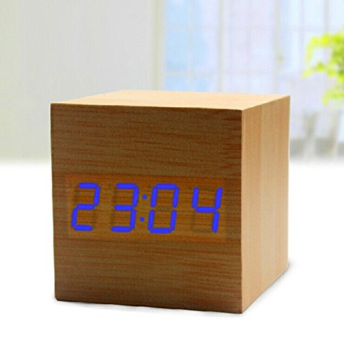 Makerfire Cube Mini Purple Led Natural Wood Base Wooden Alarm Clock With Thermometer Time Display And Sound Activated