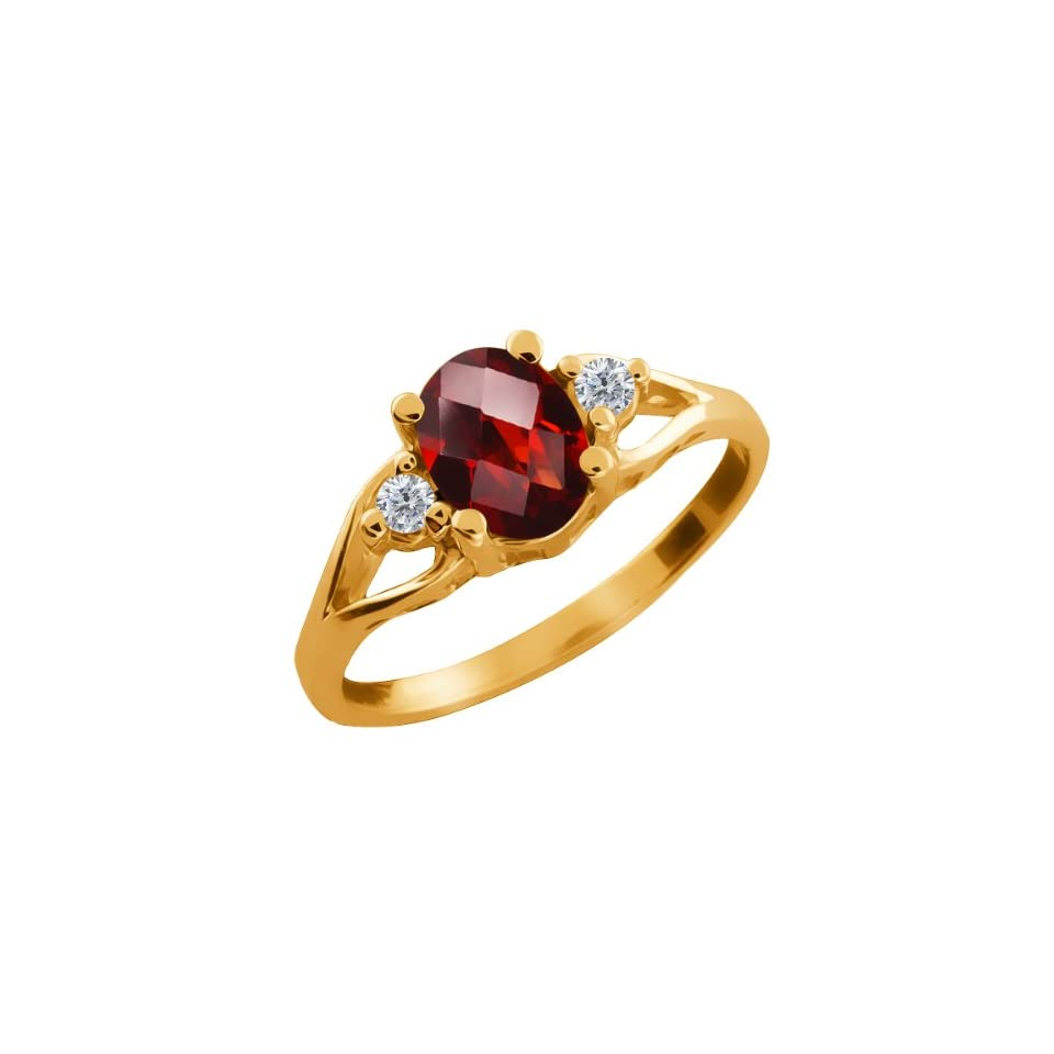 1.46 Ct Checkerboard Red Garnet and Diamond Gold Plated Silver Ring