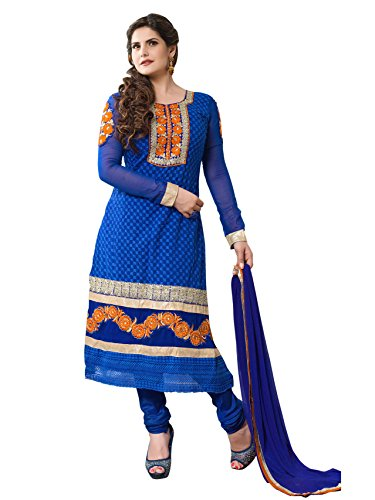 Khushali Fashion Women Georgette Salwar Suit Dress Material (Za08 _Blue _Free Size)  available at amazon for Rs.1048
