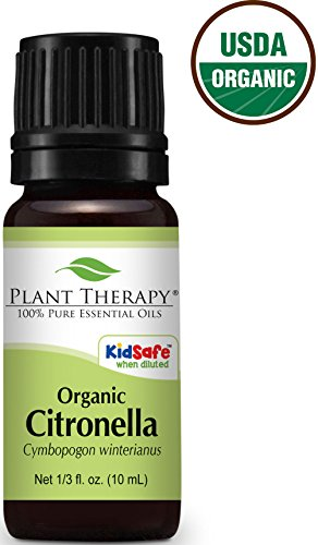 USDA Certified Organic Citronella Essential Oil. 10 ml (1/3 oz). 100% Pure, Undiluted, Therapeutic Grade.