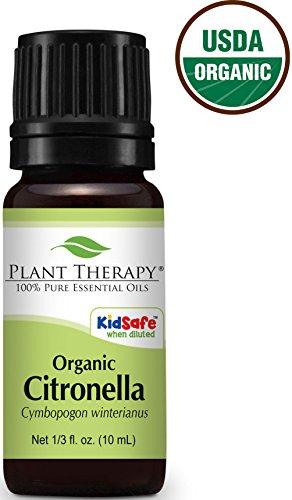USDA Certified Organic Citronella Essential Oil. 10 ml (1/3 oz). 100% Pure, Undiluted, Therapeutic Grade.