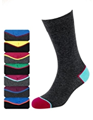 7 Pairs of Cotton Rich Freshfeet™ Contrast Heel & Toe Socks with Silver Technology