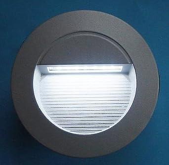 tec led wandeinbauleuchte silbergrau rund f r aussen ip65 230v beleuchtung. Black Bedroom Furniture Sets. Home Design Ideas