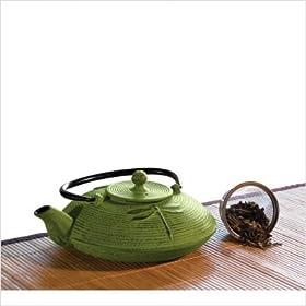 Primula Cast Iron 28-Ounce Tea Pot, Green Mist with Tea Sample
