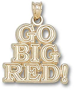Nebraska Cornhuskers Go Big Red! Pendant - 14KT Gold Jewelry by Logo Art