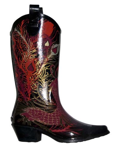 dav Women's Western Cowboy Phoenix Boot,Black,7 M US