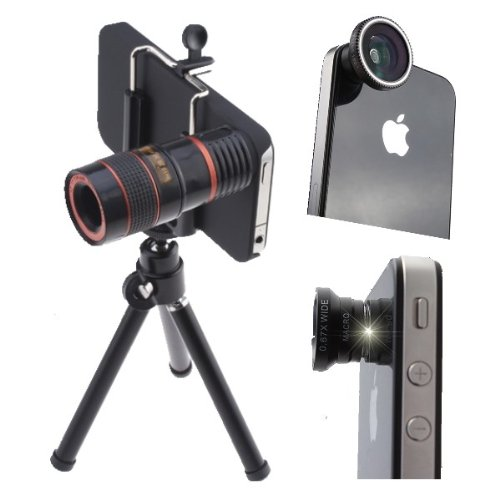 Agptek® 4 In 1 Camera Lens Kit (8X Telephoto, Fish Eye Lens, Wide Angle + Micro Lens) With Tripod And Hard Case For Iphone 4 4S Ipad, Black