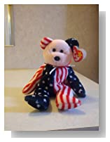 Pink Face Spangle the Stars & Stripes Patriotic Teddy Bear - MWMT Ty Beanie Babies