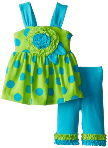 Bonnie Baby Baby-Girls Newborn Large Rose Appliqued Legging Set, Green, 3-6 Months front-966659