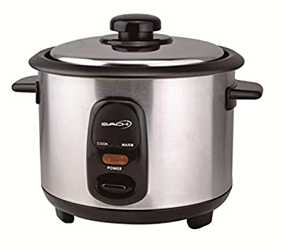 Saachi RC60 3 Cup Automatic Rice Cooker (Uncooked) with Keep Warm, Stainless Steel and Non-Stick Pot, Silver by Saachi