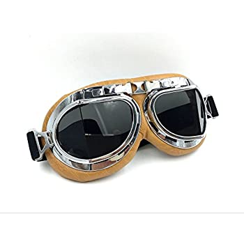 Vintage Aviator Pilot Goggles for Cruiser Chopper Motorcycle Scooter ATV Adult(Grey)