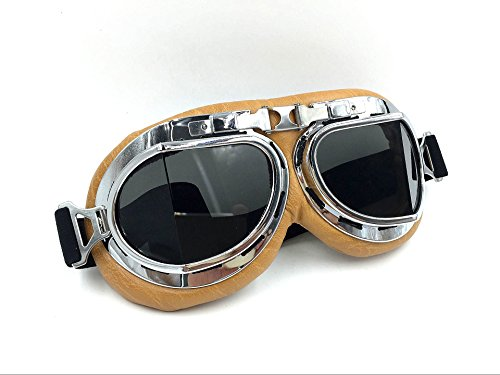 Vintage Aviator Pilot Goggles for Cruiser Chopper Motorcycle Scooter ATV Adult(Grey) 1