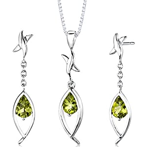 Tear Drop Peridot Pendant Earrings Necklace in Sterling Silver Rhodium Nickel Finish 2.00 Carats Total Weight