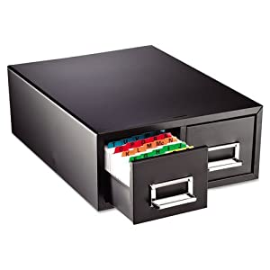 STEELMASTER Large Double Card File Drawer, Fits 5 x 8 Cards, 1500 Card Capacity, 18.38 x 7.19 x 16 Inches, Black (263F5816DBLA)