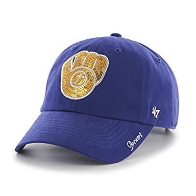 MLB Milwaukee Brewers Womens Sparkle Team color '47 Clean Up Adjustable Hat, Royal, Women's,Royal