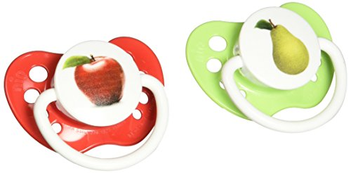 Ulubulu Pacifiers for Unisex, Apple and Pear, 0-6 months