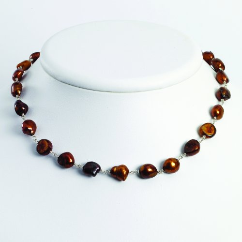 Sterling Silver Brown Freshwater Cultured Pearl Necklace
