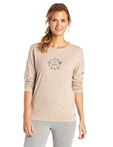 Life is good Women's Crusher Circling Leaves Long Sleeve Tee, Heather Latte, Large