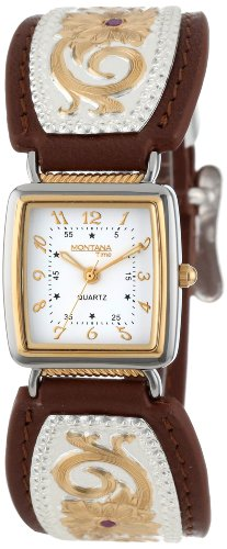 buy Montana Time Women'S Wch820 Floral Inset Leather Band Analog Watch