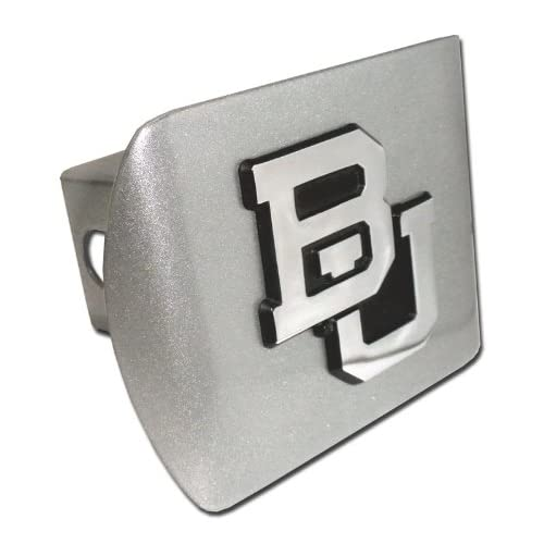 Baylor University Bears Brushed Silver Finish with Chrome BU Emblem NCAA College Metal Trailer Hitch Cover Fits 2 Inch Auto Car Truck Receiver