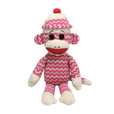 Ty Beanie Buddies Socks The Monkey (Pink/White Zig Zag)
