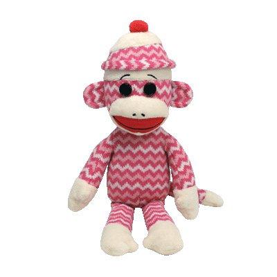 Ty Beanie Buddies Socks The Monkey (Pink/White Zig Zag) - 1