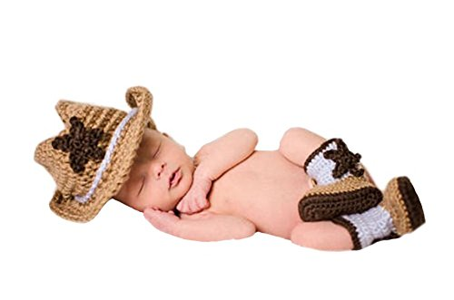 CX-Queen Baby Photography Prop Crochet Knit Star Cowboy Hat Boots Costume