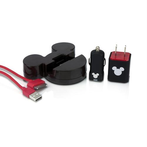 PDP IP-1324 Disney Mickey Charger Kit for Apple iPod/iPhone/iPad - Retail Packaging - Black