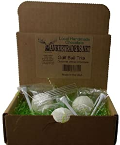 White Chocolate Golf Balls in a Gift Box - 3 Pack Box, Yankee Traders Brand